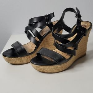 G by Guess strappy black buckle espadrilles heels